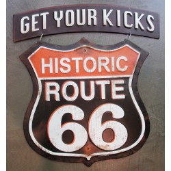 plaque route 66 blason suspendu get your kicks usa tole en relief emboutie