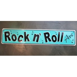 plaque rock roll avenue bleu (plaque de rue)  tole déco  fan des fifties