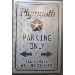 plaque plymouth parking only tole publicitaire metal pub deco garage loft