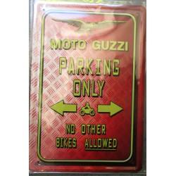 plaque moto guzzy parking only tole publicitaire metal pub garage atelier