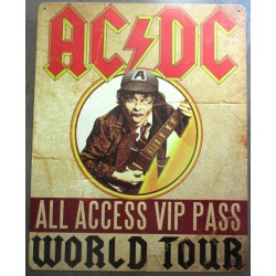 plaque acdc world tour groupe hard rock  40cm tole deco fan musique