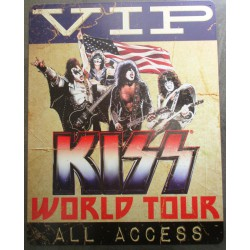 plaque KISS world tour  VIP access groupe hard rock  40cm tole deco fan musique