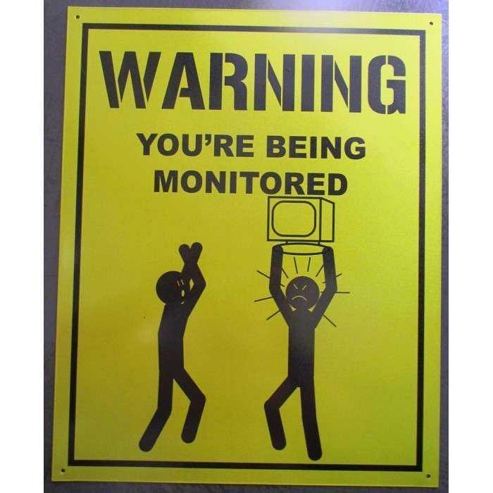 plaque warning monitoring jaune  40cm tole deco en métal surveillance