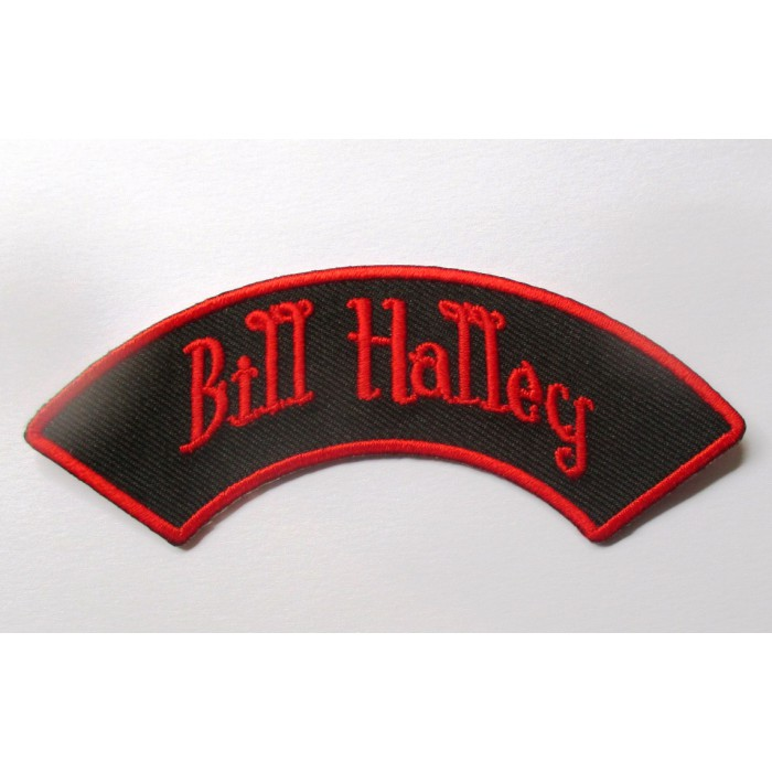 patch bill halley banderolle noir rouge ecusson rockabilly fan rock roll