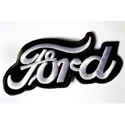 patch ford vieux logo  noir blanc thermocollant auto 9.5x4cm