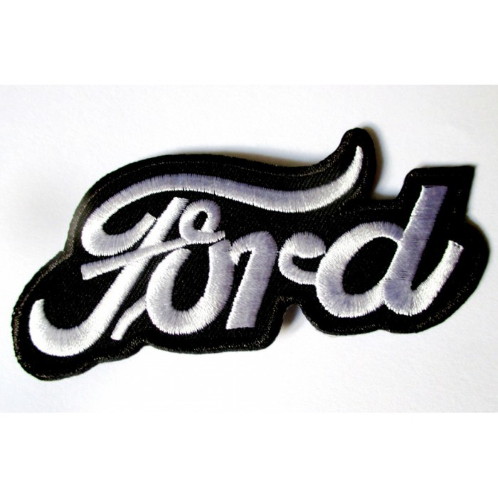 patch ford vieux logo  noir blanc thermocollant auto 9.5x4cm