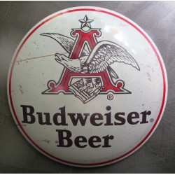 plaque bombée beer biere budweiser beige vieux logo 40 cm tole metal garage diner loft