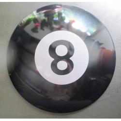 plaque bombée 8 ball boule de billard noire 40 cm tole metal garage diner loft