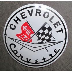 mini plaque emaillée chevrolet corvette 12cm tole email usa