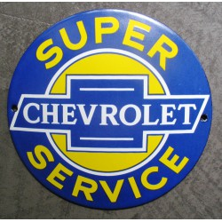 mini plaque emaillée chevrolet super service bleu 12cm tole email usa