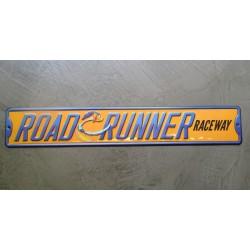 plaque beep beep raceway 51x8.5cm  en relief deco metal tole rare