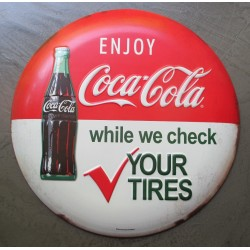 plaque coca check your tires pneu bombée dome tole publicitaire huile deco garage
