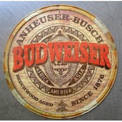 plaque biere budweiser imitation bois tonneau tole metal garage diner loft