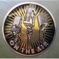 plaque on the air vieux micro shure tole doré et chrome metal garage diner loft