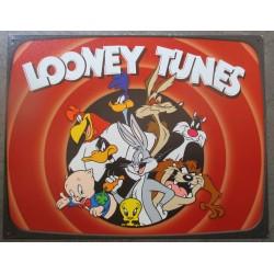 plaque  looney tunes dessin animé titi sylvestre coyote beep beep taz tole doré et chrome metal garage diner loft
