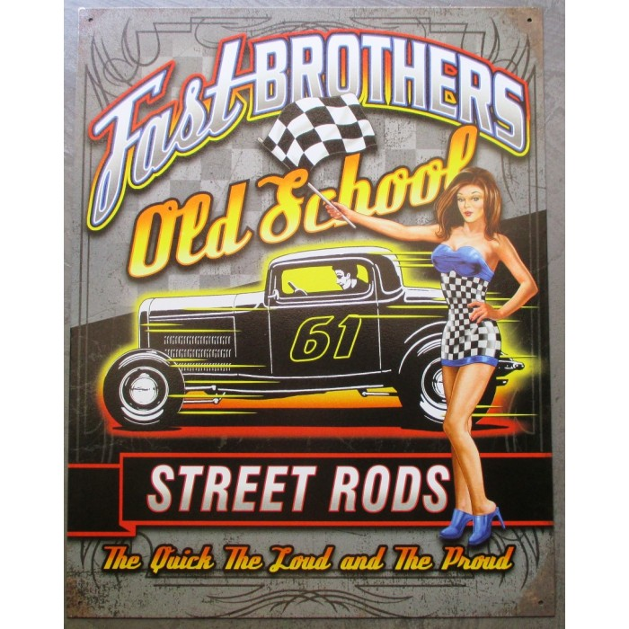 plaque pin up sexy et hot rod  fast brothers old school tole metal garage diner loft