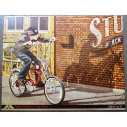plaque enfant qui fait du velo avec une ombre de biker tole metal garage diner loft