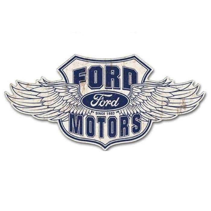 Grande Plaque Ford Motor Aillé 80x39 Cm Tole Metal Garage