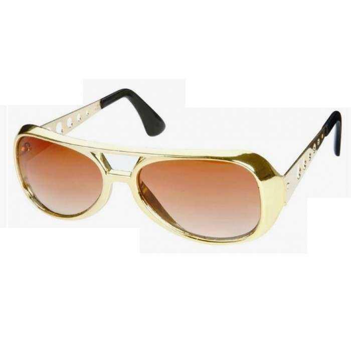 lunette de soleil style elvis presley doré king rock roll  look année 70