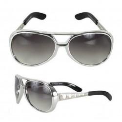 lunette de soleil style elvis presley argenté  griseking rock roll  look année 70