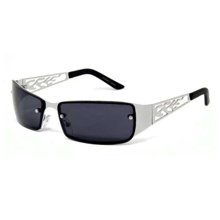 lunette de soleil  flame découpée grise claire métal et plastique rock roll biker