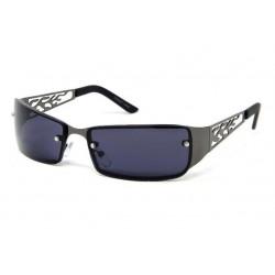 lunette de soleil  flame découpée grise foncé métal et plastique rock roll biker