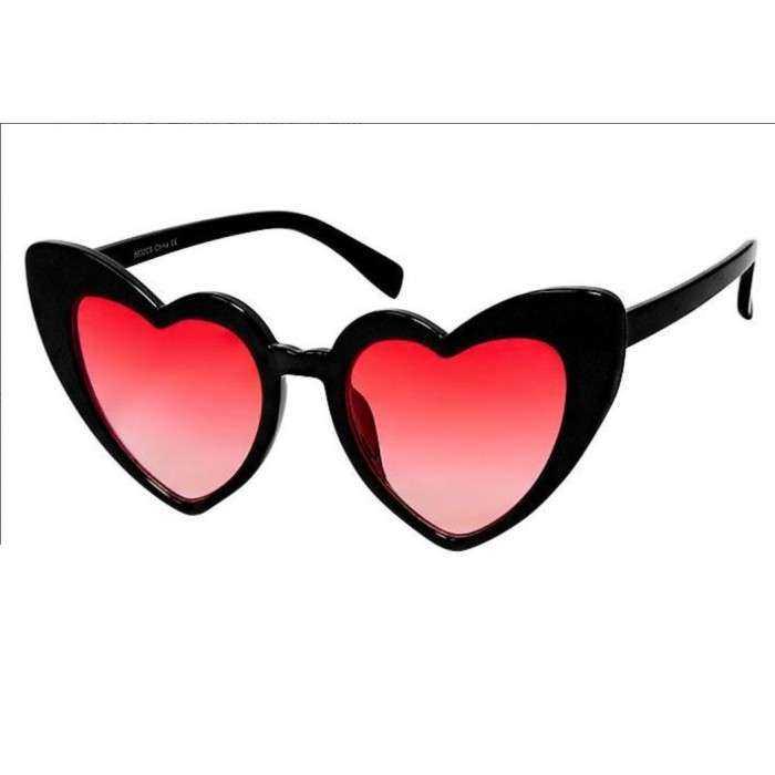 bf439c5b4f lunette de soleil femme forme coeur noir et rose pin up rockabilly