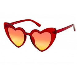lunette de soleil femme forme coeur rouge transparent pin up rockabilly