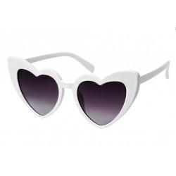 lunette de soleil femme forme coeur blanche verre noir pin up rockabilly