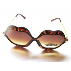 lunette de soleil femme forme bouche levre leopard pin up rockabilly