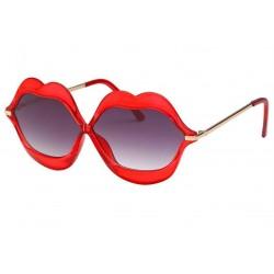 lunette de soleil femme forme bouche levre rouge transparente pin up rockabilly