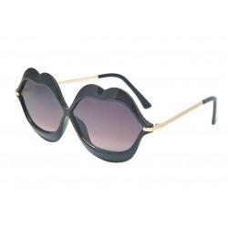 lunette de soleil femme forme bouche levre noir verre fumé noir pin up rockabilly