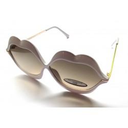 lunette de soleil femme forme bouche levre blanche verre fumé noir pin up rockabilly