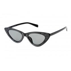 lunette de soleil femme avec nombreux stass noir verre noir pin up rockabilly