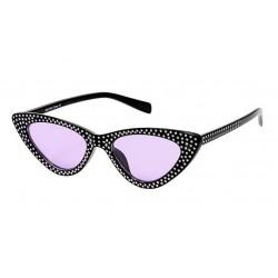lunette de soleil femme avec nombreux stass noir verre rose pin up rockabilly