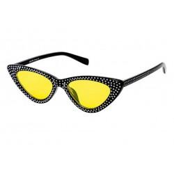 lunette de soleil femme avec nombreux stass noir verre jaune pin up rockabilly