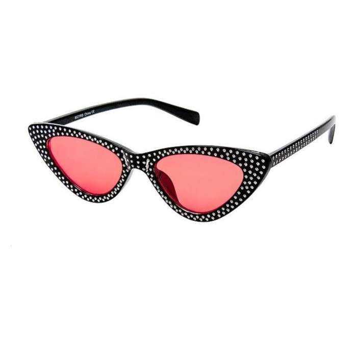 lunette de soleil femme avec nombreux strass noir verre rouge pin up rockabilly