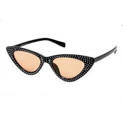 lunette de soleil femme avec nombreux strass noir verre beige  pin up rockabilly