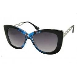 lunette de soleil femme  gros cat eyes fleuri bleu branche metal pin up rockabilly