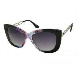 lunette de soleil femme  gros cat eyes  fleur violette branche metal pin up rockabilly