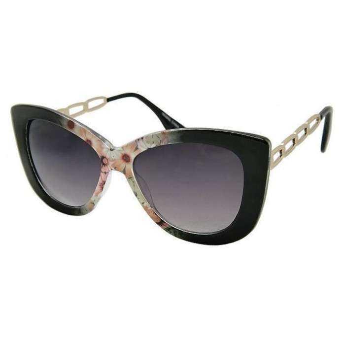 lunette de soleil femme  gros cat eyes  fleur rose branche metal pin up rockabilly