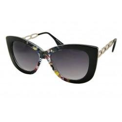 lunette de soleil femme  gros cat eyes  fleur multicolore branche metal pin up rockabilly