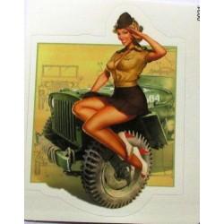 mini sticker pin up militaire sexy et jeep de l'armee 9x7 cm autocollant look année 50 rock roll