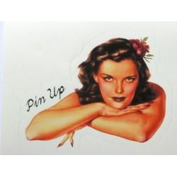 mini sticker pin up bras croisés style rétro 9x7 cm autocollant look année 50 rock roll