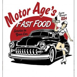 mini sticker pin up et voiture américaine style kustom motor age  8x7 cm autocollant look année 50 rock roll