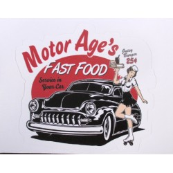 mini sticker pin up et voiture américaine style kustom motor age  8x7 cm autocollant look année 50 rock roll