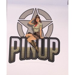 mini sticker pin up militaire et gros logo pin up 7.5x7 cm autocollant look année 50 rock roll