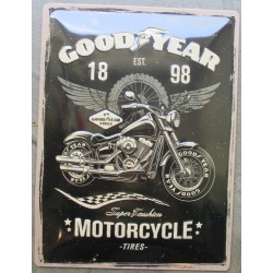 plaque good year motorcycle moto tole bombée noire 40cm pub garage