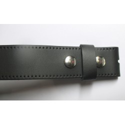 L115cm ceinture en cuir noir  avec 2 pressions homme femme pleine fleur