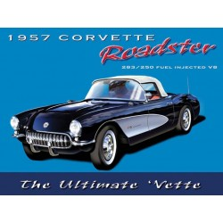 plaque corvette 1957 ultimate vette 40x30cm pub metal tole salon